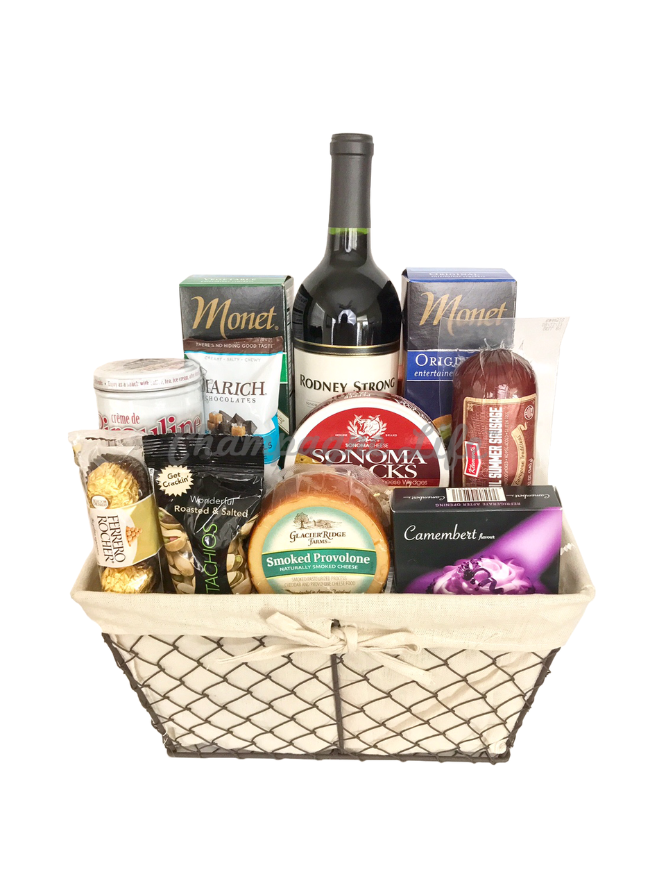 Deluxe Wine And Cheese Gift Basket Champagne Life Gift