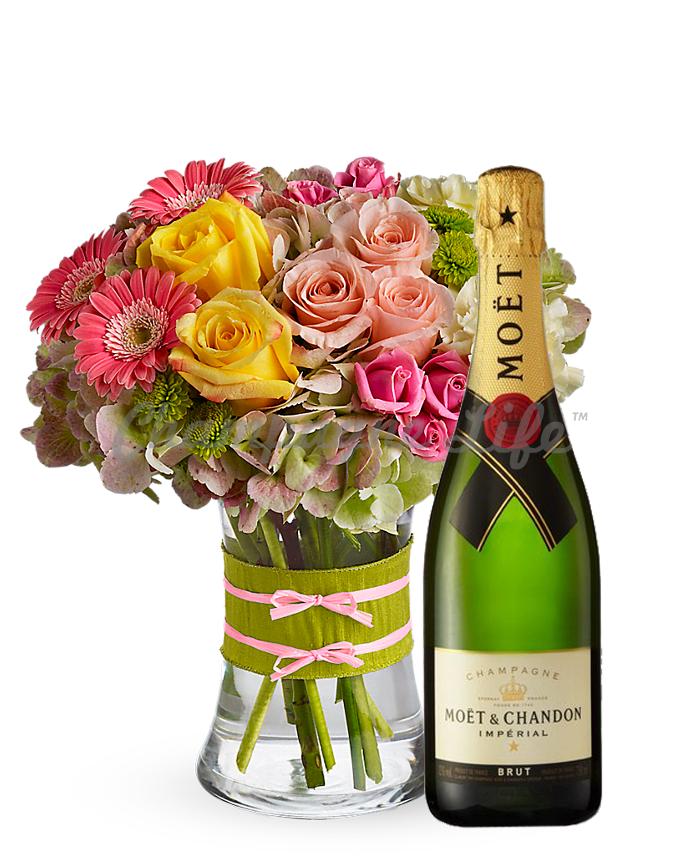Colorful Bouquet And Champagne Champagne Life Gift Baskets