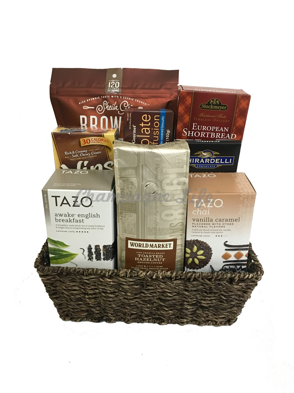 Coffee And Tea Gift Basket Champagne Life Gift Baskets