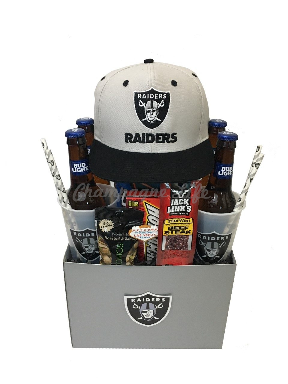 NFL Las Vegas Raiders Gift Basket Champagne Life Gift