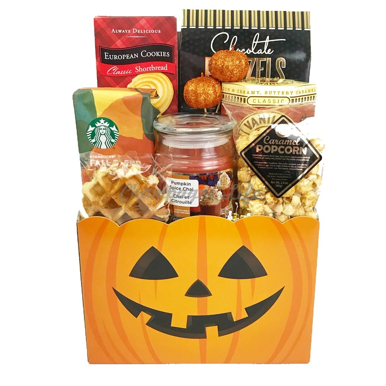 Halloween Gift Basket Ideas For Adults.Pumpkin Spice Halloween Gift Basket