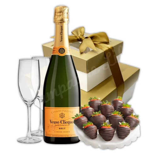 Champagne Life - Champagne & Chocolate Covered Strawberries Gift Set