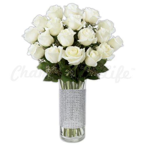 Champagne Life - White Wedding Rose Bouquet